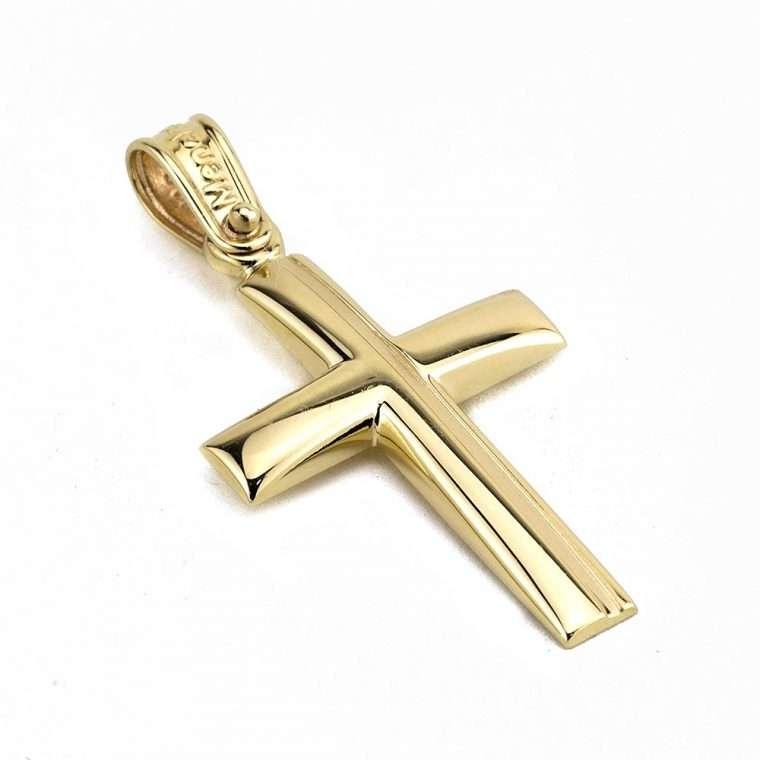 Χρυσός σταυρός βάπτισης για Αγόρι διπλής όψης 14 καρατιών Νο.328