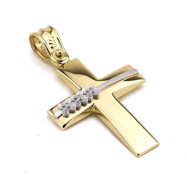 Χρυσός σταυρός βάπτισης για Κορίτσι διπλής όψης 14 καρατιών Νο.331