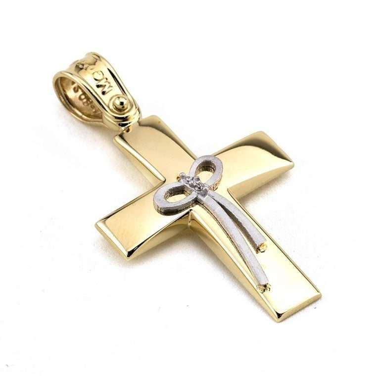 Χρυσός σταυρός βάπτισης για Κορίτσι διπλής όψης 14 καρατίων Νο.333