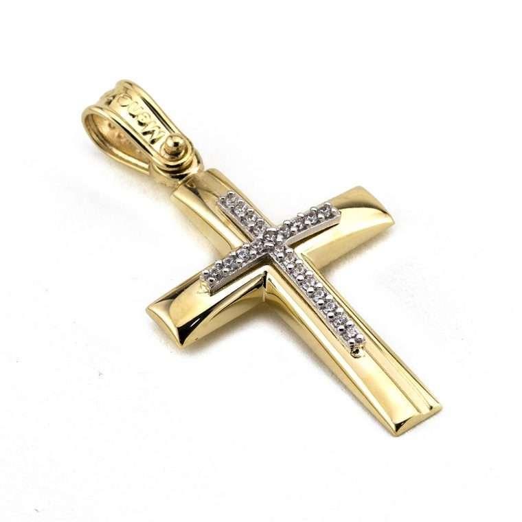 Χρυσός σταυρός βάπτισης για Κορίτσι διπλής όψης 14 καρατίων Νο.332