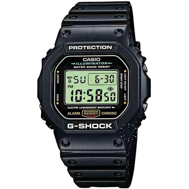 CASIO G-Shock - 5600E-1VER, Black case with Black Rubber Strap