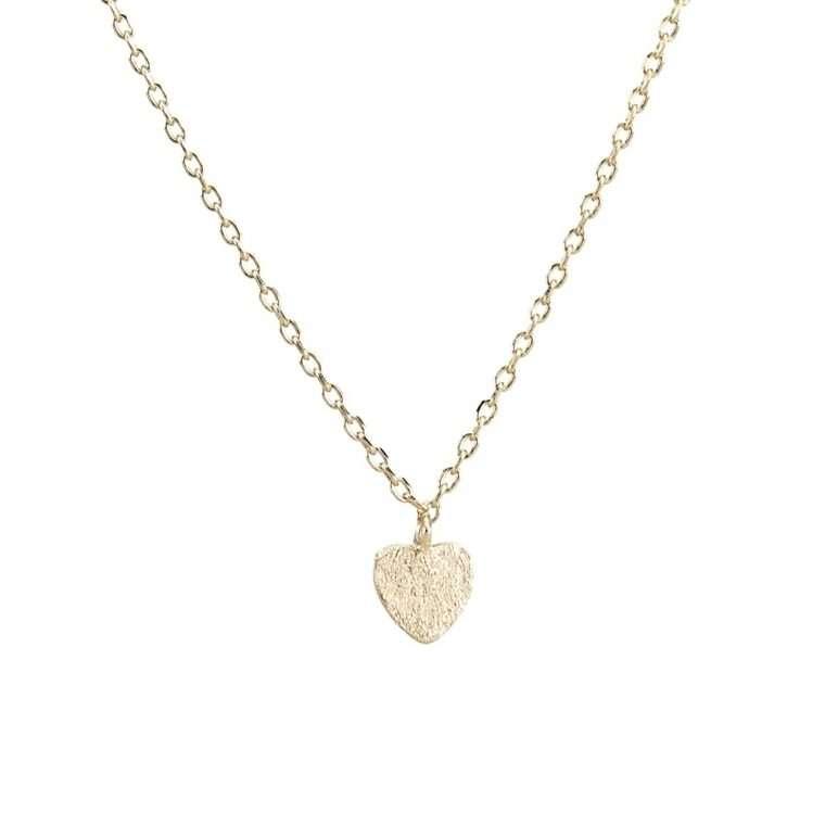Γυναικείο ασημένιο κολιέ καρδιά σε χρυσό χρώμα.
