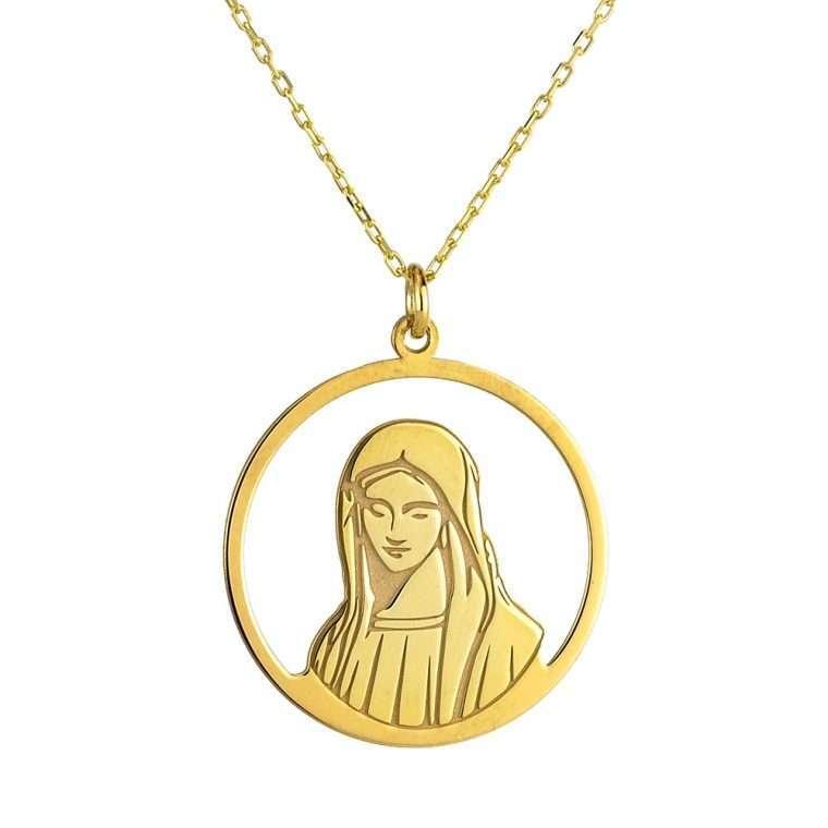Γυναικείο ασημένιο κολιέ με την προσωπογραφία της Παναγίας.