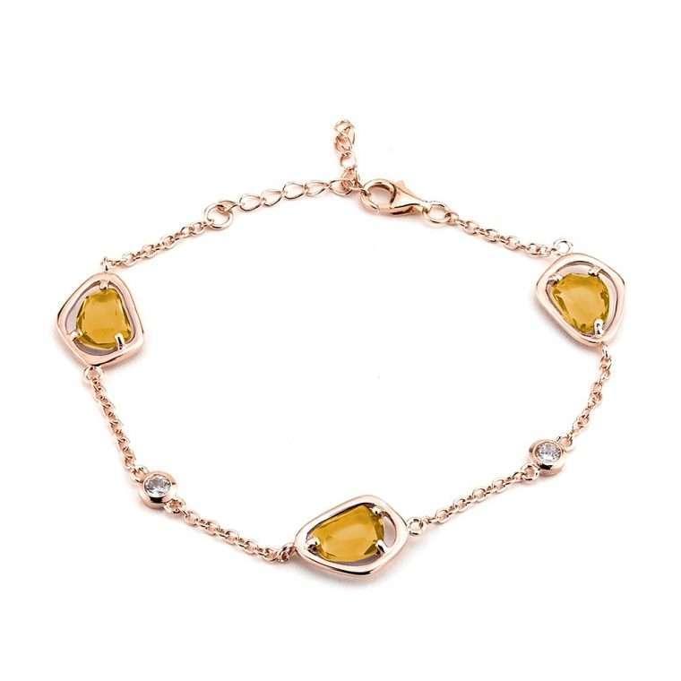 Ασημένιο βραχιόλι 3 τετράγωνες κίτρινες πέτρες σε ρόζ χρώμα.