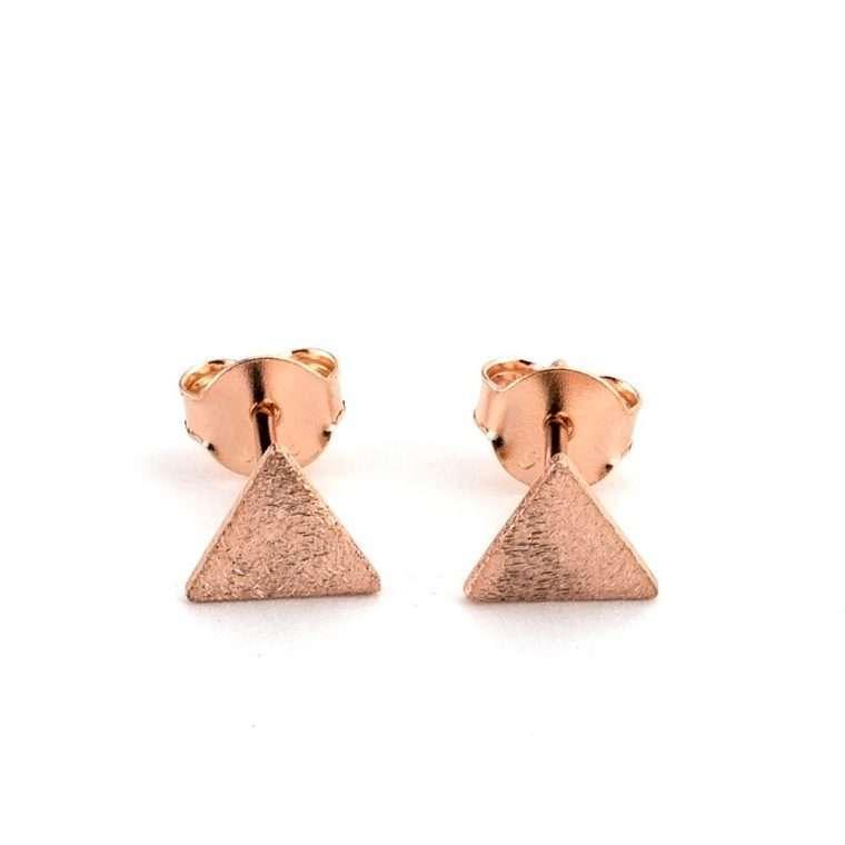 Ασημένια σκουλαρίκια τρίγωνο σε ρόζ  χρώμα. για το αφτί