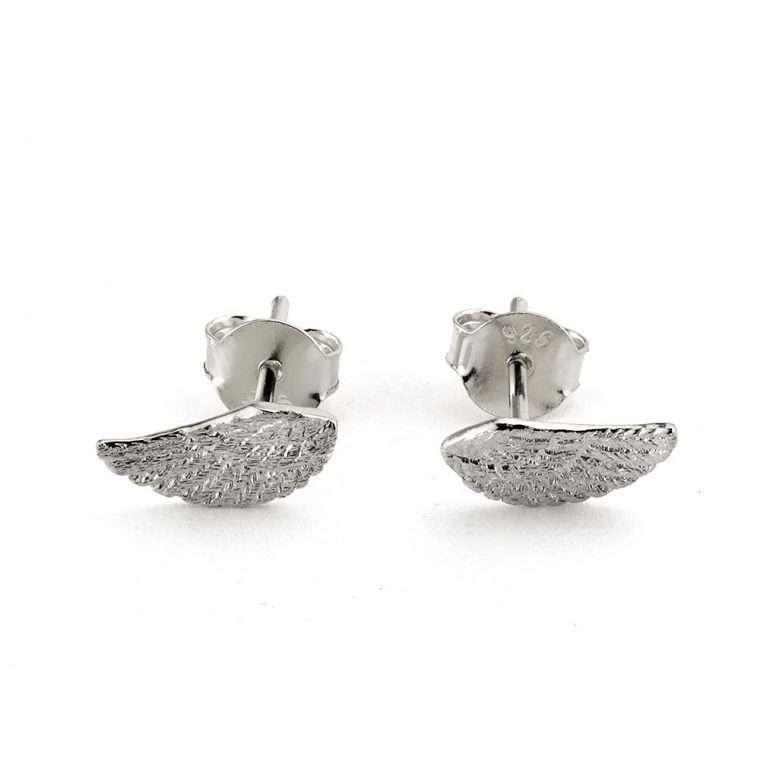 Ασημένια σκουλαρίκια φτερό για το αφτί