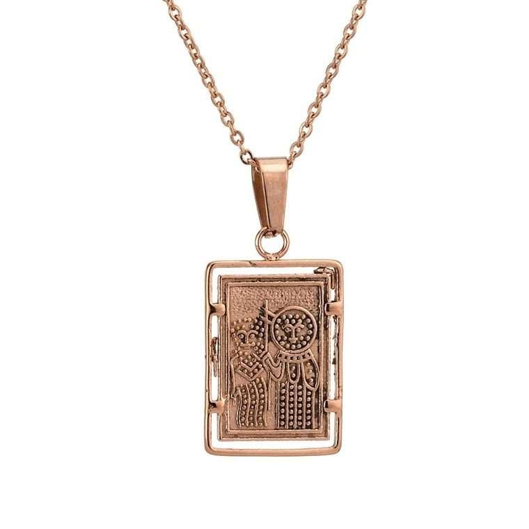 Γυναικείο κολιέ Κωνσταντινάτο stainless steel ροζ cg4