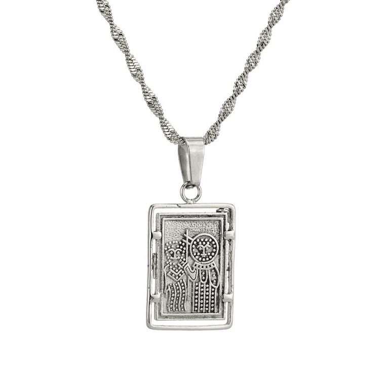 Γυναικείο κολιέ Κωνσταντινάτο stainless steel ασημί cg18