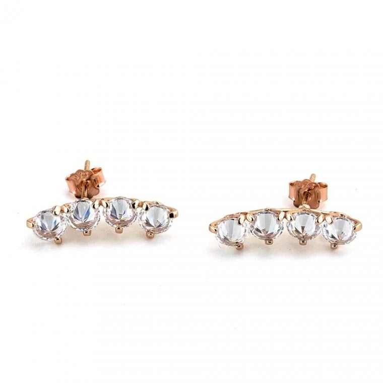Ασημένια σκουλαρίκια 4 πέτρες σε ροζ.