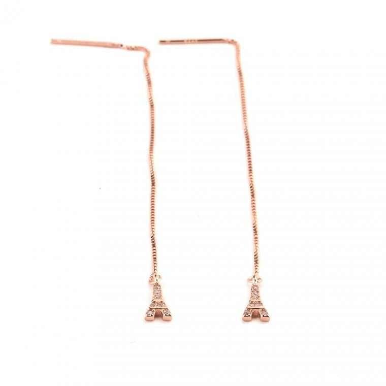 Ασημένια σκουλαρίκια κρεμαστός πύργος σε ροζ χρώμα για το αφτί