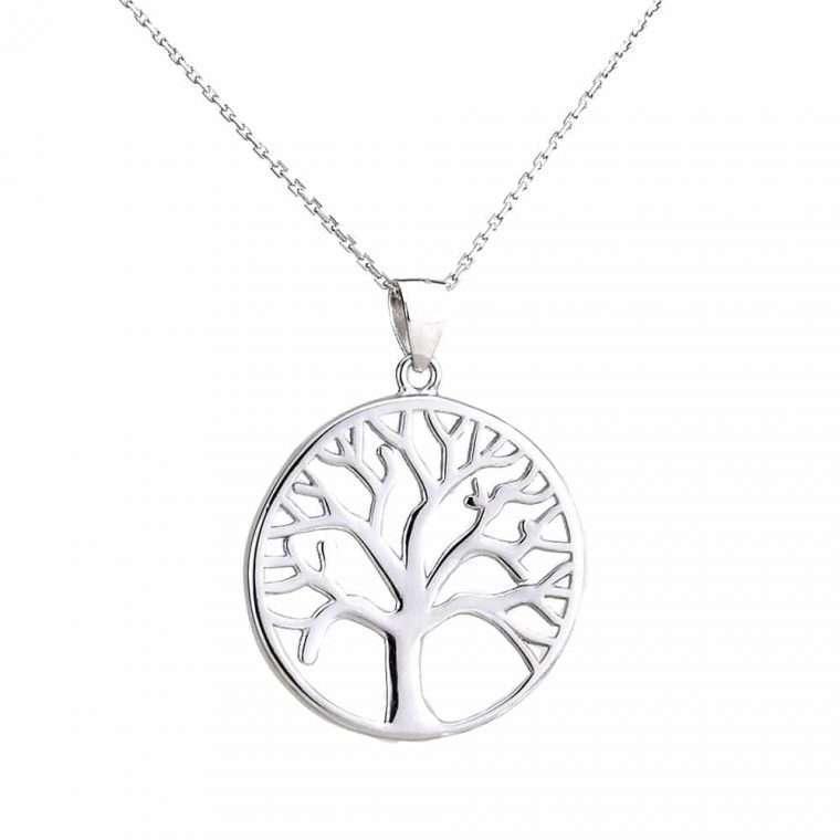 Γυναικείο ασημένιο κολιέ δέντρο της ζωής.