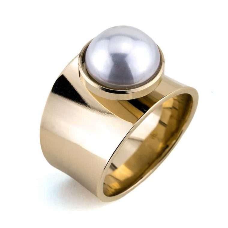 Γυναικείο δαχτυλίδι σωλήνας stainless steel χρυσό με μαργαριτάρι