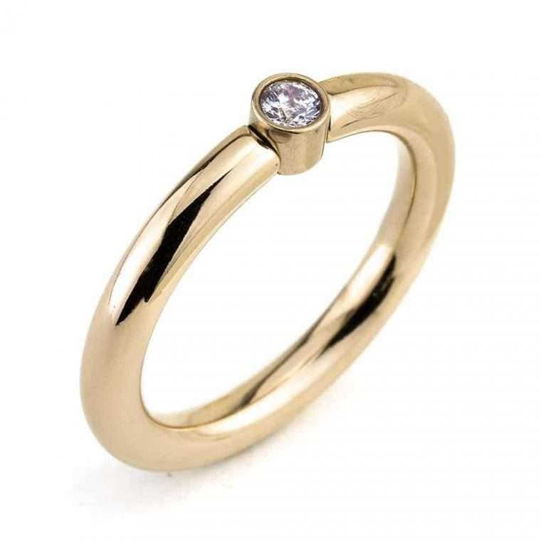 Γυναικείο δαχτυλίδι stainless steel χρυσό με μονοπετράκι 2