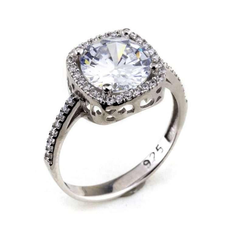 Γυναικείο ασημένιο δαχτυλίδι μονόπετρο μεγάλο