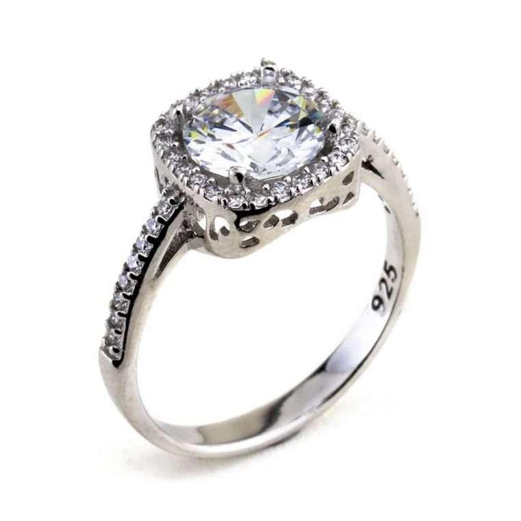 Γυναικείο ασημένιο δαχτυλίδι μονόπετρο