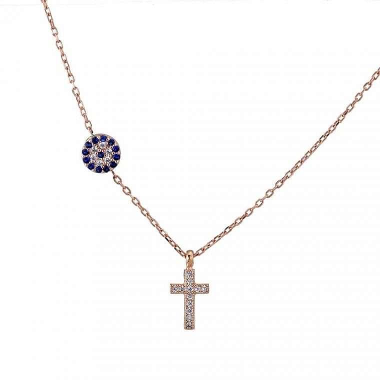 Γυναικείο ασημένιο κολιέ με κρεμαστό σταυρό και ματάκι