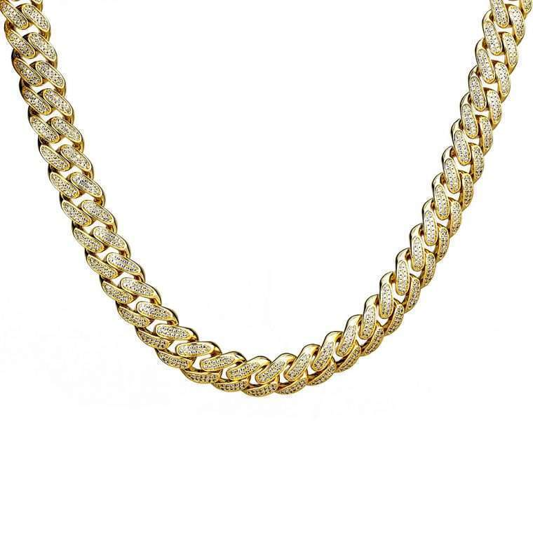 11mm Gold Ιced Cuban Chain Goldsmith