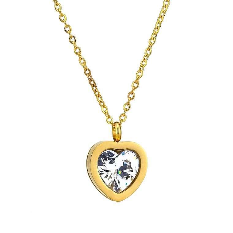 Κολιέ καρδιά stainless steel με πέτρα ζιργκόν.