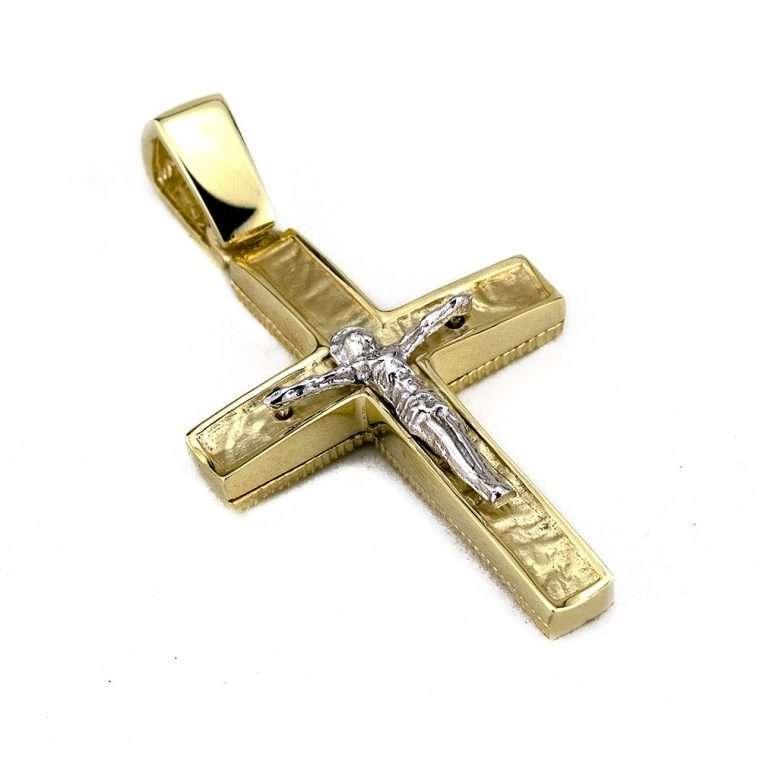 Σταυρός χρυσός 14 καρατίων με τον εσταυρωμένο No.201