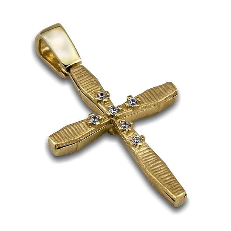 Σταυρός χρυσός 14 καρατίων, διπλής όψεως. No.205