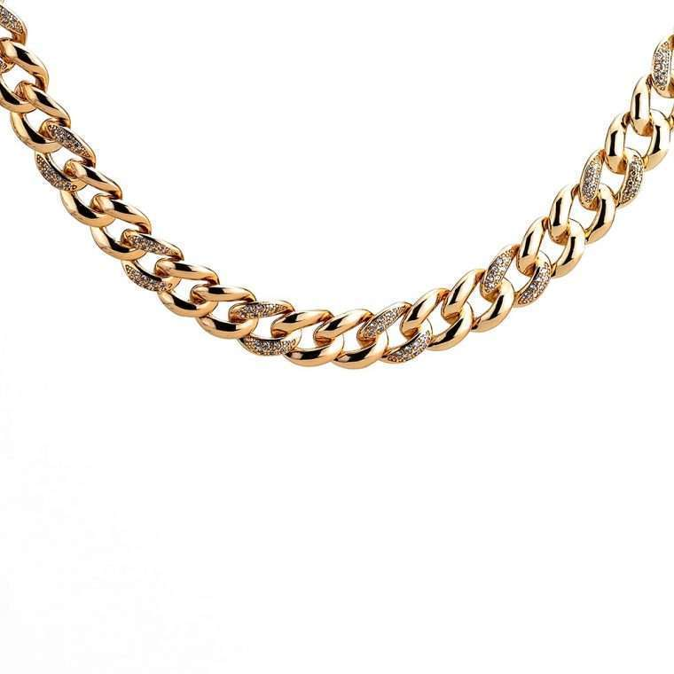 Rose Gold Ιced Cuban Chain Goldsmith Stainless Steel.