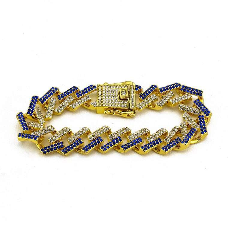 PRONG BRACELET BLUE AND WHITE. - 15MM WHITE GOLD