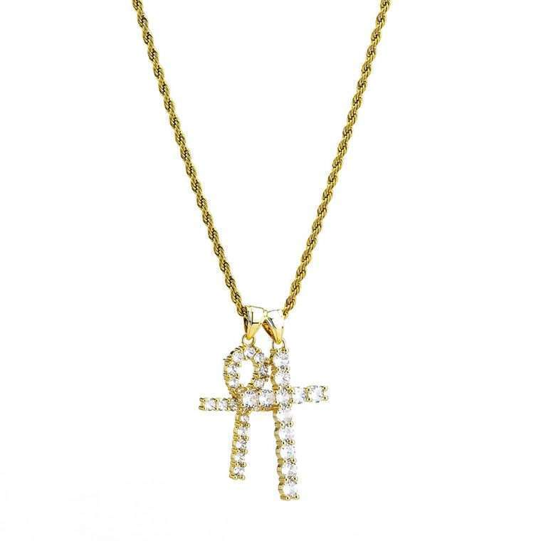 CROSS AND ANKH PIECE. - 18K GOLD PENDANT
