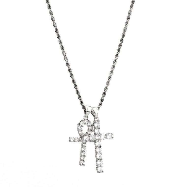 CROSS AND ANKH PIECE. - WHITE GOLD PENDANT