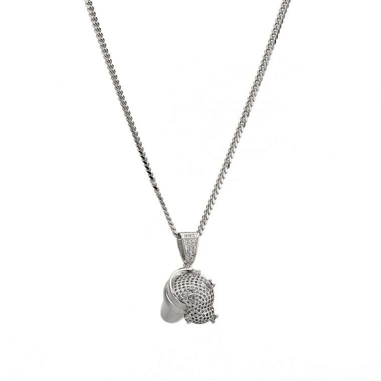 CUP PENDNAT SPILLED DRINK PIECE. - WHITE GOLD