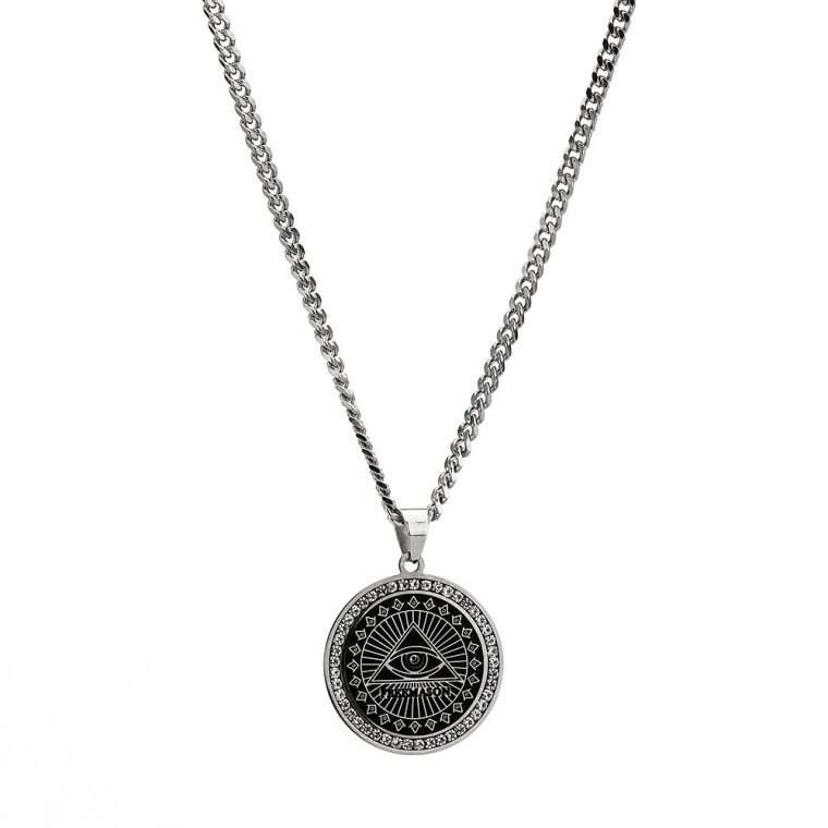 THE ALL SEEING EYE PENDANT. - WHITE GOLD