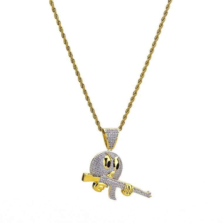 EMOJI FACE WITH GUN PENDANT. - WHITE GOLD