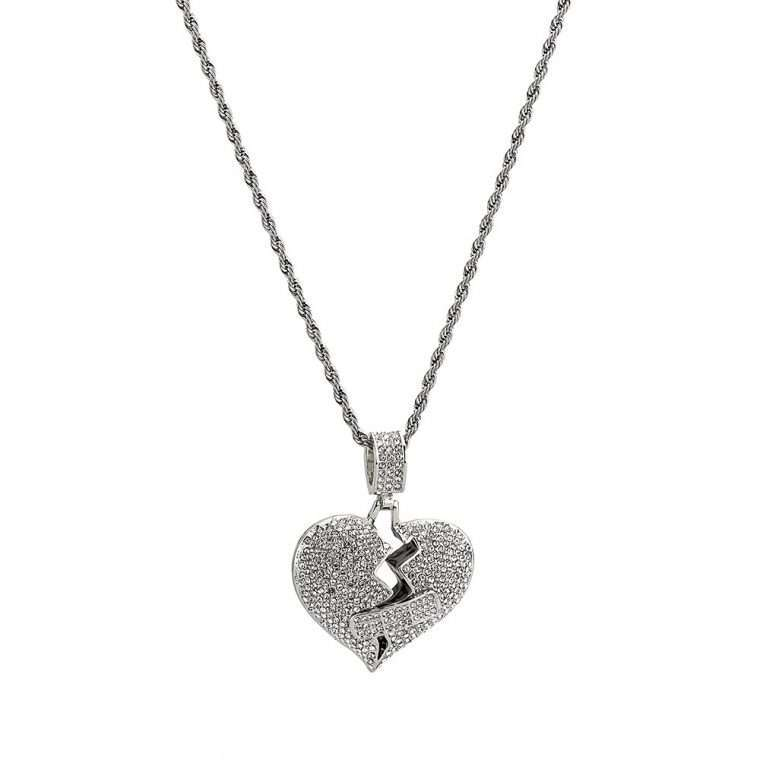 MENDED HEART PIECE. - WHITE GOLD