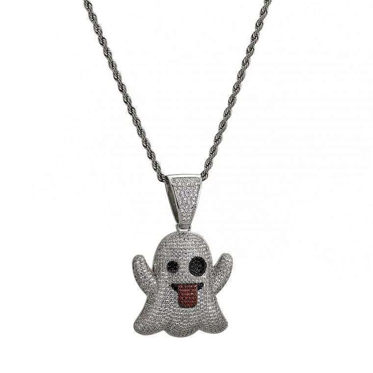 GHOST EMOJI PENDANT. - WHITE GOLD