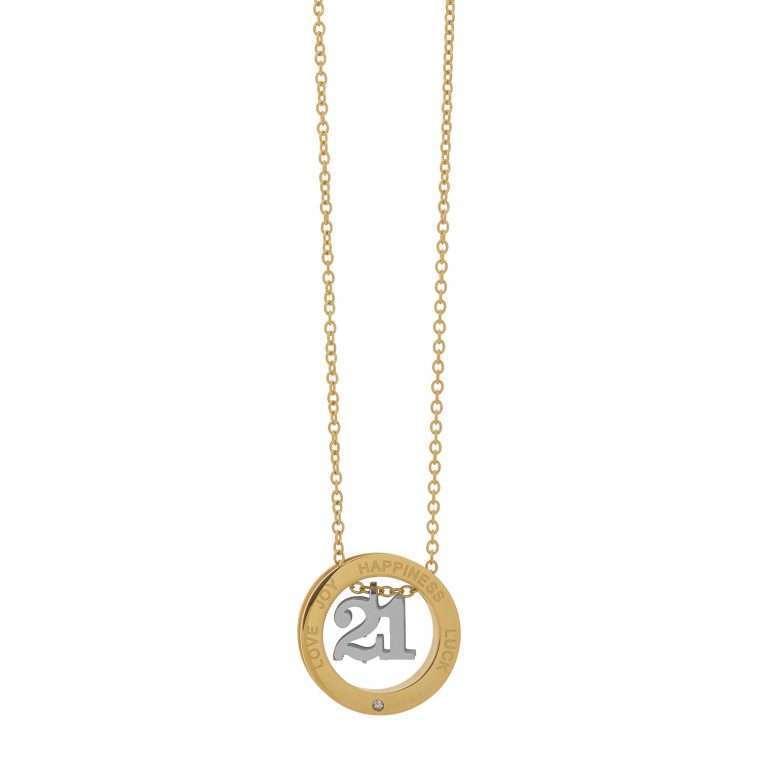 Γυναικείο κολιέ , γούρι lucky charm 2021 σε χρυσό και ασημί χρώμα.