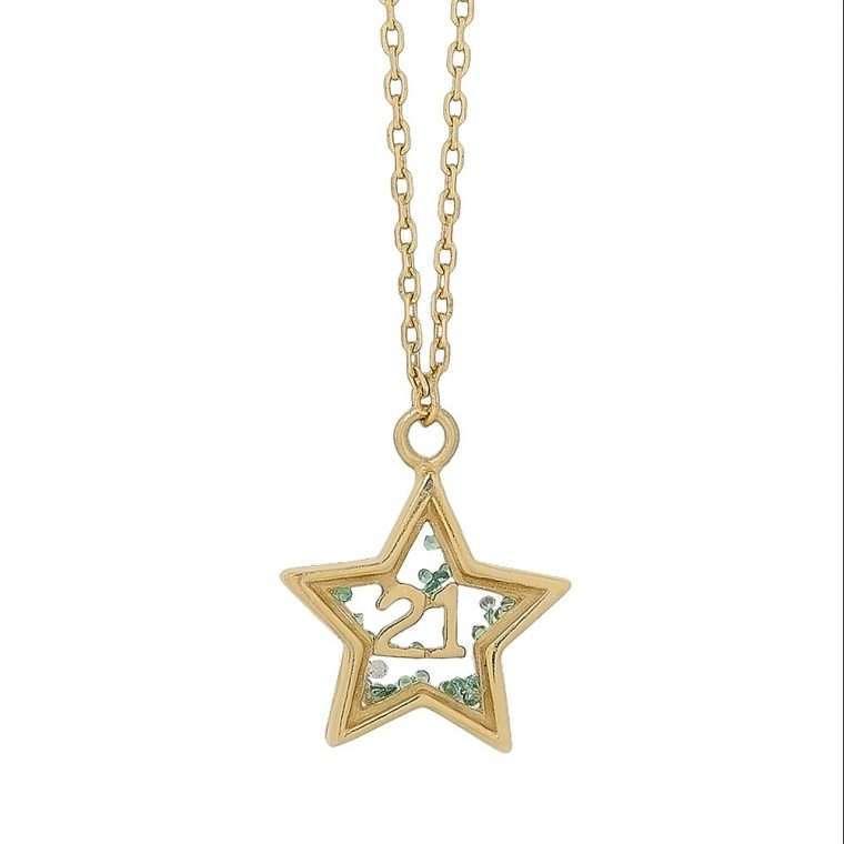 Γυναικείο Ασημένιο Κολιέ Αστέρι - Γούρι 2021 Χρυσό